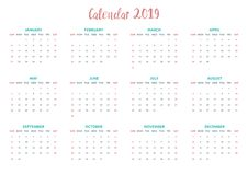 Minimalny prosty kalendarzowy projekt dla Stycznia Grudzień obraz stock