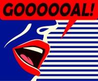 Minimalny stylowy usta piłka nożna zwolennika rozkrzyczany cel świętuje jego drużynowa wektorowa ilustracja royalty ilustracja