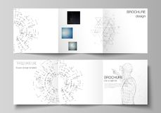 Minimalny wektorowy editable układ kwadratowe format pokrywy projektuje szablony dla trifold broszurki, ulotka, magazyn royalty ilustracja