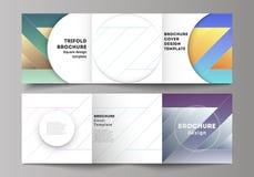 Minimalny wektorowy editable uk?ad kwadratowe format pokrywy projektuje szablony dla trifold broszurki, ulotka, magazyn ilustracji