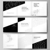 Minimalny wektorowy editable uk?ad kwadratowe format pokrywy projektuje szablony dla trifold broszurki, ulotka, magazyn modny ilustracja wektor