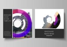 Minimalny wektorowy uk?ad dwa kwadratowej format pokrywy projektuje szablony dla broszurki, ulotka, magazyn Futurystyczny projekt royalty ilustracja