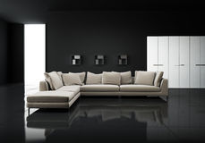 Minimalny współczesny elegancki żywy pokój zdjęcia stock