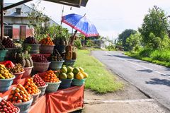 Minimarket in the old village on the Bali. Variety of fruits in Indonesia. stock photos