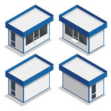 Minimarktäußeres Flache isometrische Illustration 3d des Vektors Lizenzfreie Stockbilder