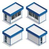 Minimarktbuitenkant Vector vlakke 3d isometrische illustratie Royalty-vrije Stock Afbeeldingen