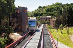 Minimetro Railway Perugia. Is a type of Finicular railway operating on rail but with a traction rope Royalty Free Stock Photos