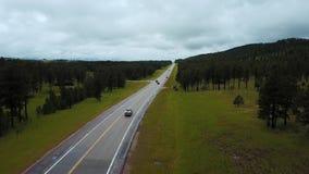 Minimo di volo del fuco sopra traffico sulla strada della strada principale fra Forest Hills verde pulito selvaggio con gli alber stock footage