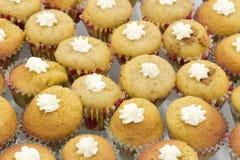 Minimuffins mit Sahne Lizenzfreies Stockbild
