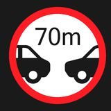 Minimum distance 70m sign flat icon. Minimum distance 70m flat icon, Traffic and road sign, vector graphics, a solid pattern on a black background, eps 10 Stock Photo