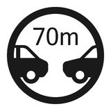 Minimum distance 70m sign line icon. Minimum distance 70m line icon, Traffic and road sign, vector graphics, a solid pattern on a white background, eps 10 Stock Photo