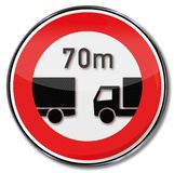 Minimum distance of 70 meters for trucks. Traffic minimum distance of 70 meters for trucks royalty free illustration