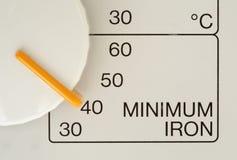 Minimum Iron. A close up of a washing machine detailing minimum iron setting Royalty Free Stock Photography