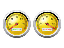 Minimum and maximum speed meter. Abstract  illustration of minimum and maximum speed meter closeup Stock Images