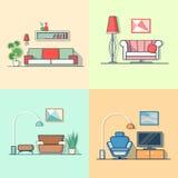 Minimum modernes confortables de salon de logement de logement illustration de vecteur