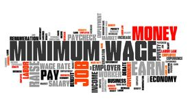 Minimum pay. Minimum wage - salary regulations by government. Career concept word cloud Stock Photo