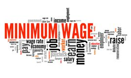 Minimum salary. Salary regulations by government. Career concept word cloud Stock Image