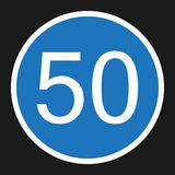 Minimum Speed Sign 50 flat icon. Traffic and road sign, vector graphics, a solid pattern on a black background, eps 10 Royalty Free Stock Photos