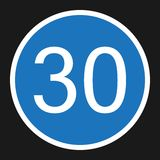 Minimum Speed Sign 30 flat icon. Traffic and road sign, vector graphics, a solid pattern on a black background, eps 10 Stock Images