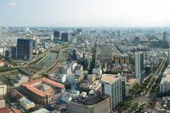 Minimum stad för panoramasiktsho chi på Vietnam Arkivfoton