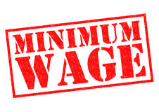 MINIMUM WAGE. Red Rubber Stamp over a white background Royalty Free Stock Photos