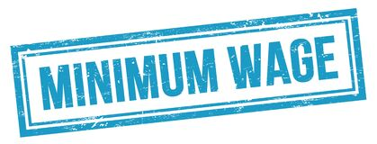 Free MINIMUM WAGE Text On Blue Grungy Vintage Stamp Royalty Free Stock Image - 216018826