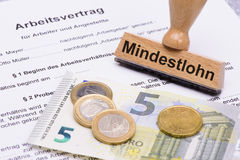 Minimum wages in Germany. With 8,50 Euros and employment contract Stock Images