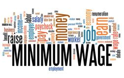 Minimum wages. Minimum wage - pay regulations by government. Career concept word cloud Stock Photography