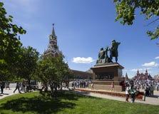 Minin en Pojarsky-het monument werden opgericht in 1818, Rood Vierkant in Moskou, Rusland Stock Afbeeldingen