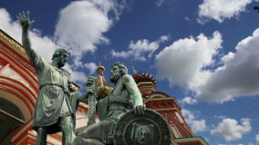 Minin and Pojarsky monument was erected in 1818, Red Square in Moscow, Russia.  stock video