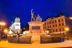 Minin and Pozharsky monument in Nizhny Novgorod, Russia. Minin and Pozharsky monument near Kremlin at night in Nizhny Novgorod, Russia. Lighted street lamps and Royalty Free Stock Photography