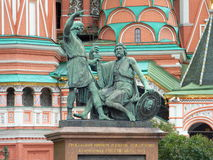 Minin and Pozharsky monument. With St. Basil Blazhenny's temple on the background Stock Images