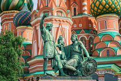 Minin and Pozharsky. Monument to Minin and Pozharsky on Red Square. Moscow, Russia. UNESCO World Heritage Site Stock Photos