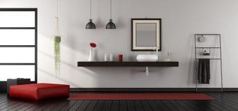 Mininalist bathroom wit washbasin. On wooden shelf - 3d rendering Stock Images