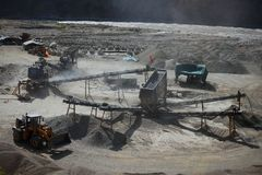 Mining. Concept. Gravel pit with various machinery stock photo