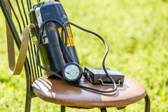 Mining absorbers and lamp. Life rescue equipment royalty free stock image