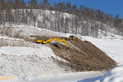Mining activities in the winter Royalty Free Stock Images