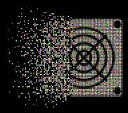Soft Disappearing Dotted Halftone Mining ASIC Device Icon. Mining ASIC device icon with disappearing effect in light color tints on a black background. Bright royalty free illustration