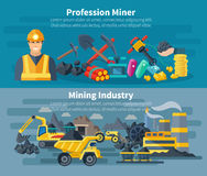 Mining Banner Set Royalty Free Stock Photography