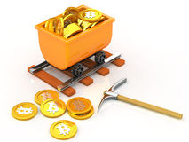 Mining bit coins. State of bit coins mined Royalty Free Stock Photos