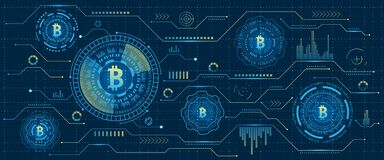 Mining Bitcoin Cryptocurrency, Digital Stream. Futuristic Money. Blockchain. Cryptography. Financial Technology - Illustration Vector Royalty Free Stock Image