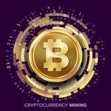 Mining Bitcoin Cryptocurrency Vector. Golden Coin, Digital Stream. Futuristic Money. Fintech Blockchain. Processing Binary Data Arrays Operation. Cryptography Stock Photo