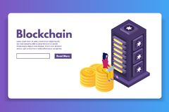 Mining Bitcoin farm ultraviolet isometric concept. stock illustration