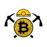 Mining bitcoin logo. Meiner emblem. Helmet and pickaxe and coin Stock Photography