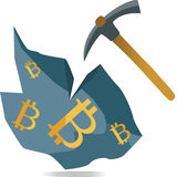 Mining bitcoin online. Mining bitcoin virtual cryptocurrency from rock with pickaxe Royalty Free Stock Image
