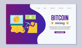 Mining Bitcoins. Modern concept of digital bitcoin crypto mining. Extracting golden coins from rock with a jackhammer. Cryptocurrency Vector Illustration for royalty free illustration