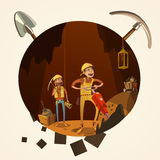 Mining cartoon illustration Royalty Free Stock Photos