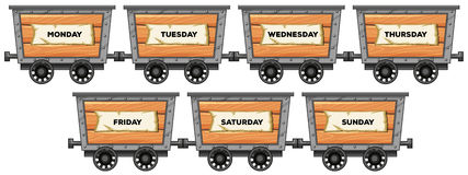 Mining carts and days of the week Stock Image