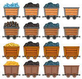 Mining carts loaded with stone and gold. Illustration Royalty Free Stock Image