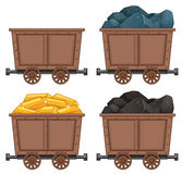 Mining carts with stones and gold. Illustration Stock Photos